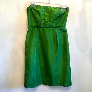 {J. Crew} Bright Green Silk Lined Strapless Dress